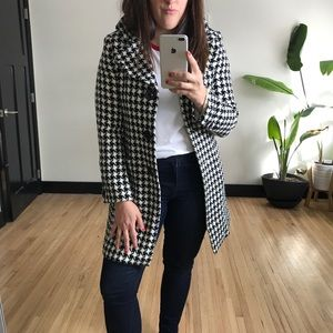 Jackets & Blazers - Magaschoni || Black Wool Houndstooth Midi Coat
